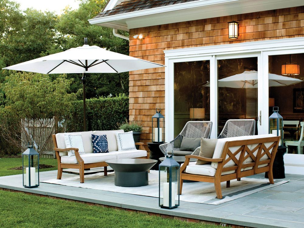 This chic outdoor living lounge is one of several.