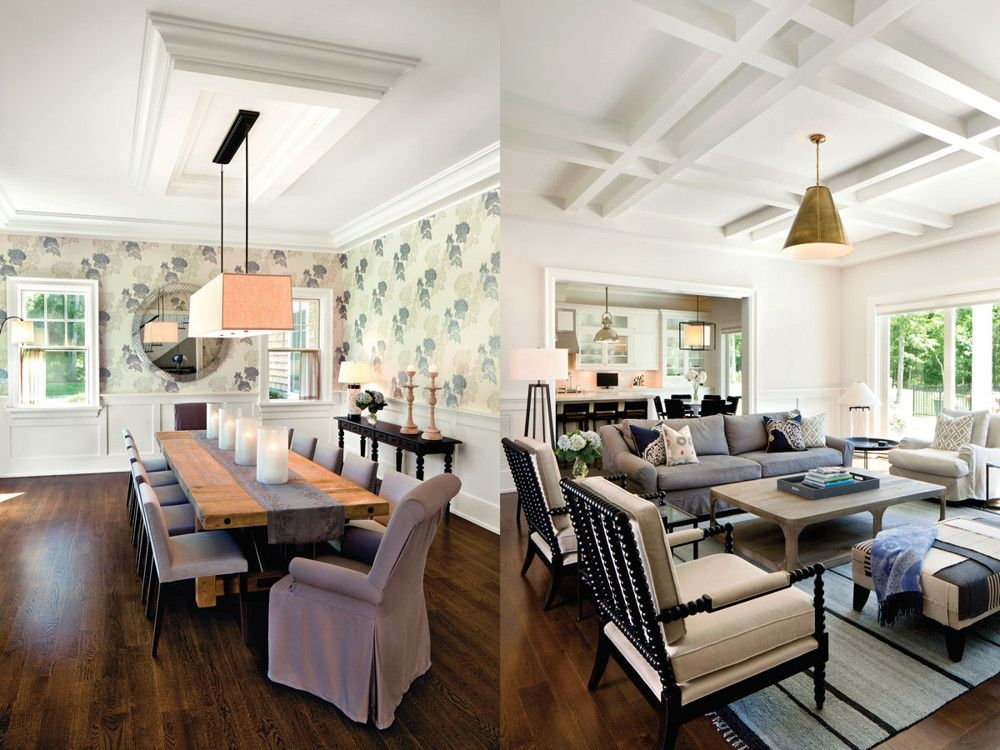 Left: Wrapped in wallpaper from Cole & Sons, the formal dining room can sit ten. Right: To create almost instant style for the living room, Raffone mixed furnishings from Crate & Barrel, Williams Sonoma Home, Restoration Hardware, Circa Lighting, and West Elm with seating from Pottery Barn that he slipcovered for style.