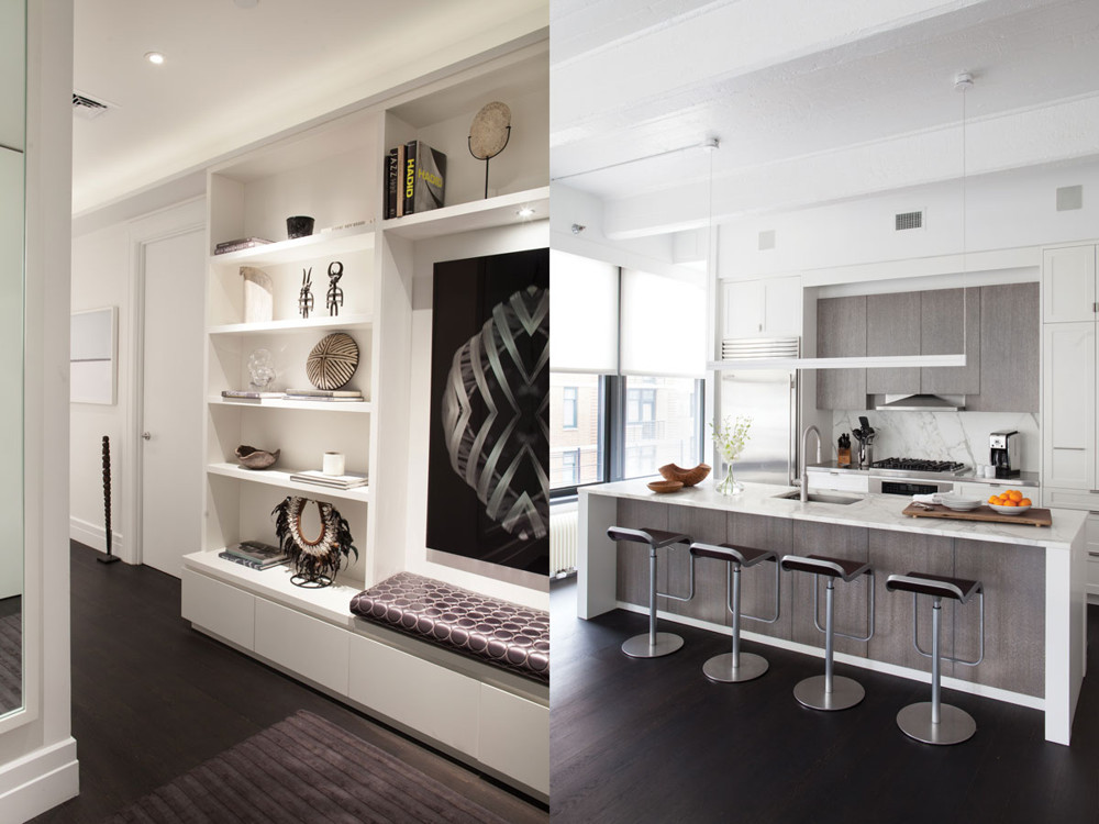 "Left:  In the entry hall, Wunderground custom designed a matte lacquer wall unit with a lower drawer (for shoes, hats, and mittens) that is topped with a bench cushion. Right: ""We were able to radically transform the developer's standard kitchen,"" Nienberg says."