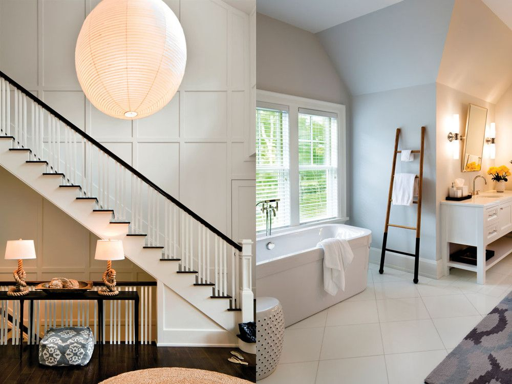 Left: Raffone says the architecture of the house was great, as the well-detailed stair hall makes perfectly clear. Right: In a bathroom under the eaves, the tub fits into a windowed alcove.