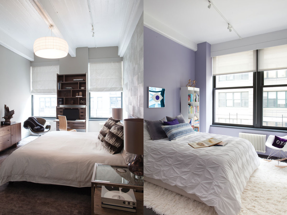 Left: By adding extra closet space and a dressing room, the master bedroom became a suite. Right: The girl's room, in pale lavender, has custom built-ins by Wunderground.