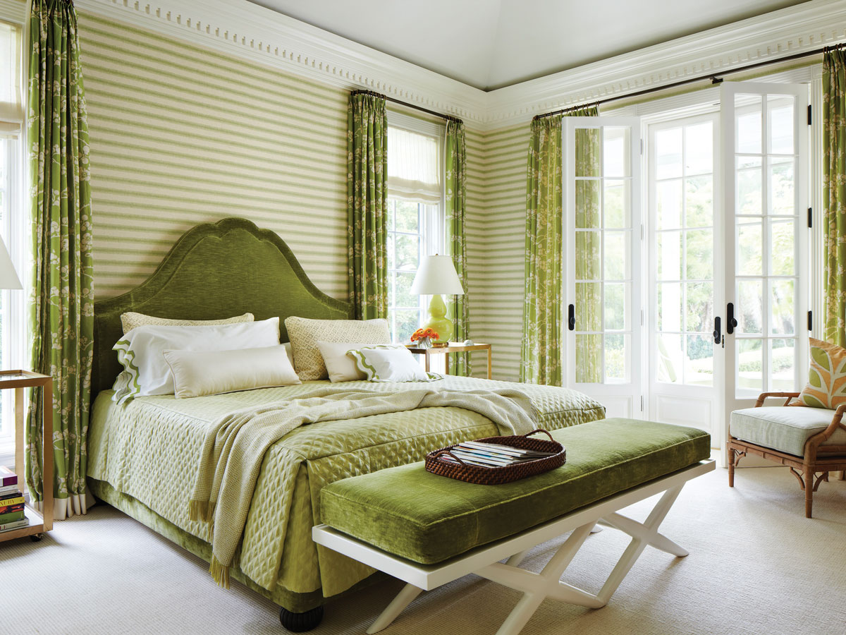 Vivid greens and a playful Larsen stripe balance ornate dentil moldings.