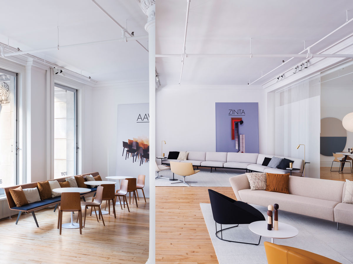 The new 4,000-square-foot showroom in SoHo is light and airy, and also functions as the company's base of North American operations. The minimalist interior by New York-based architect Solveig Fernlund is the perfect backdrop for the sculptural furniture designs.