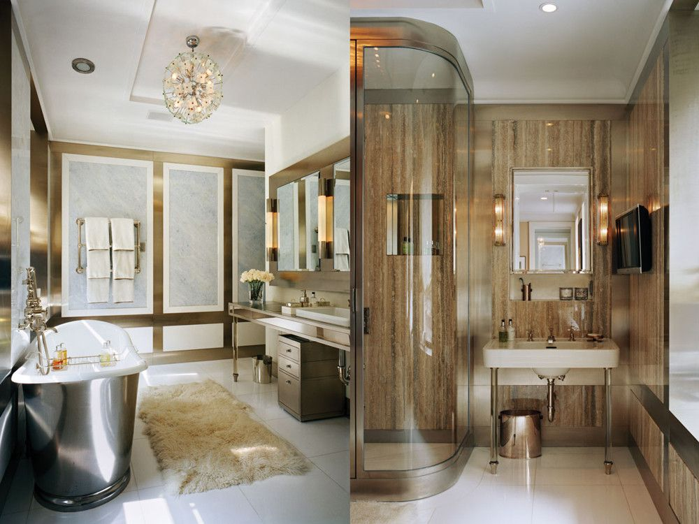 "Left: In her master bathroom, nickel frames Blue Celeste marble panels. Above the Waterworks ""Candide"" tub is a 1960s Fontana Arte glass-and-chrome sphere from John Salibello. Right: In his bath, the featured stone is honed travertine. The sconces are original to the building."