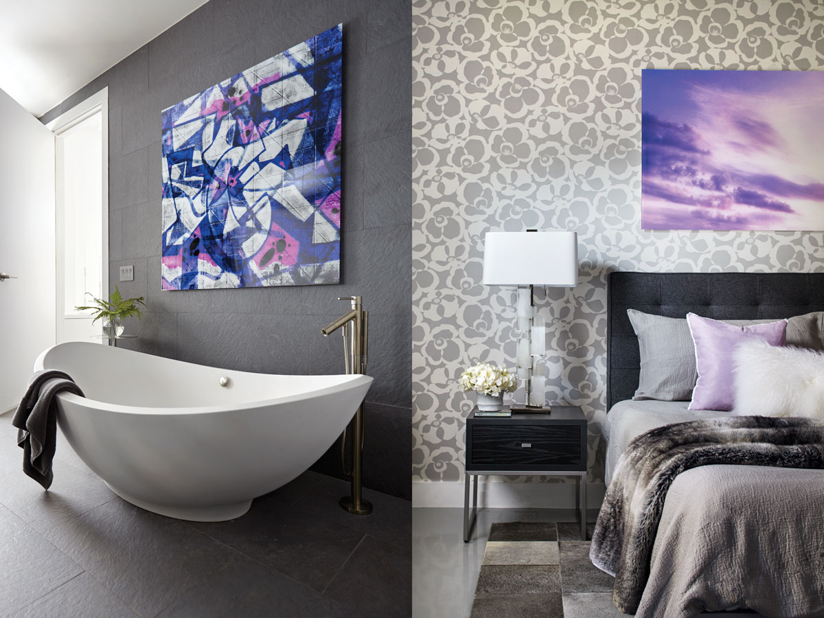 "Left: New York's Art Addiction customized a small graffiti work Lichtman found to fit the space over the bath. Right: The master bedroom has a ""mod luxe"" vibe, conveyed through a poppy Makela Mono by Romo wallcovering, patchwork leather cowhide rug from ABC Carpet & Home, and Mongolian lambswool pillow from West Elm. Here, Lichtman branched out into lilacs and lavenders to give the room some romance."