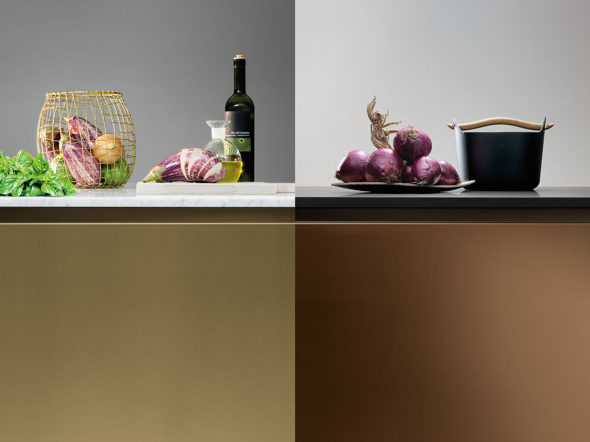 PVD, an innovative coating process for steel, available in black, steel, bronze, and champagne. Bronze and champagne shown here.