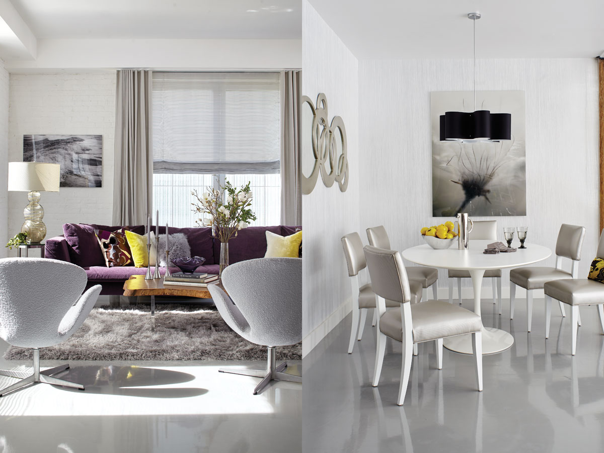 "Left: ""To really appreciate the neutrals in such a large apartment, it has to be offset with at least some discerning punches of color,"" says designer Keith Lichtman of this gray-and-white SoHo loft that features hints of purples and varied textures, such as the mohair Ligne Roset sofa, a Safavieh shag area rug, and Swan chairs from Design Within Reach recovered in a nubby bouclé from Romo. Right: The ""space age"" dining area includes gray vinyl covered Crate & Barrel chairs, a crinkled lacquer wallpaper by Innovations, and a wavy black Zulu light fixture from Dainolite."
