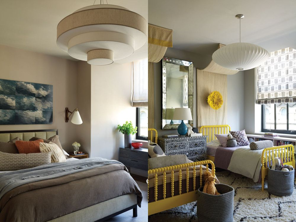 "Left: The master bedroom has a romantic feel, thanks to a bed from A. Rudin, upholstered in fabric from Lee Jofa and dressed in shades of blue, gray, and mauve. The pendant light from Trans-Luxe ""acts like a canopy,"" says Dumais. The wall sconce is Palmer Hargrave for Dessin Fournir. Right: In the twins' bedroom, happy colors and fetching patterns set the tone. The matching beds are from Land of Nod, with bedding from Restoration Hardware Baby & Child. Crowning each is a feathered headdress from Nickey Kehoe."