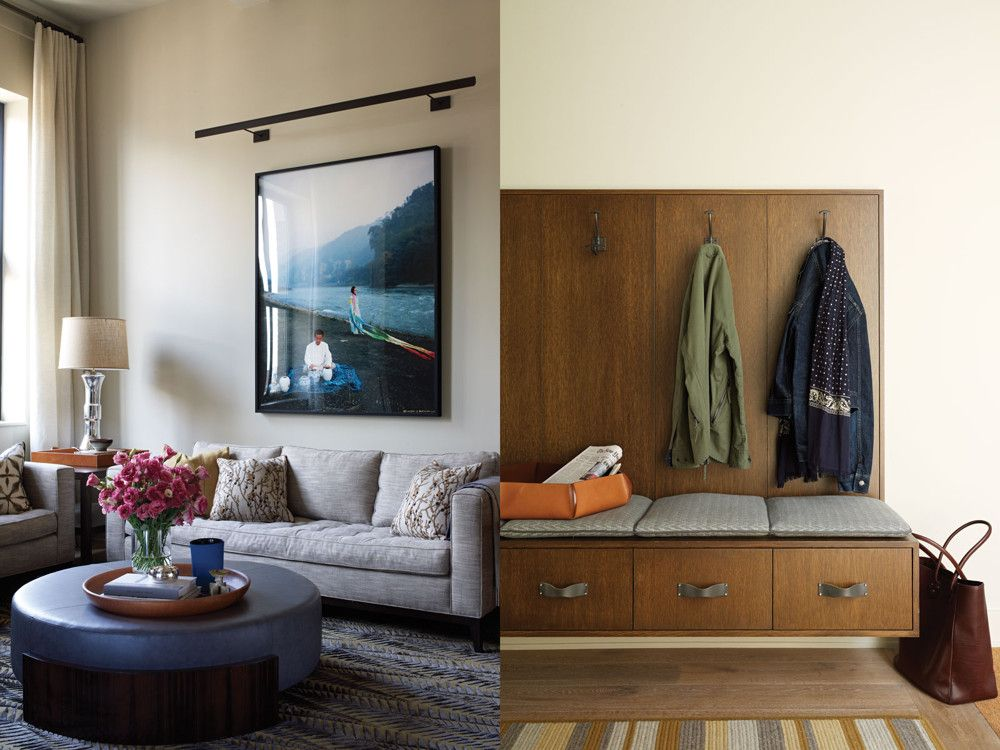 Left: In the living room, a coffee table by Dessin Fournir dressed in Spinneybeck leather anchors two sofas angled into the corner of the room. The nesting tables, which beautifully walk the modern/traditional line threading through these rooms, are vintage T.H. Robsjohn-Gibbings from Horseman Antiques. Right: The foyer serves as a de facto mudroom, with a wall-mounted unit that does multiple duty as bench, storage, and coat hanger.