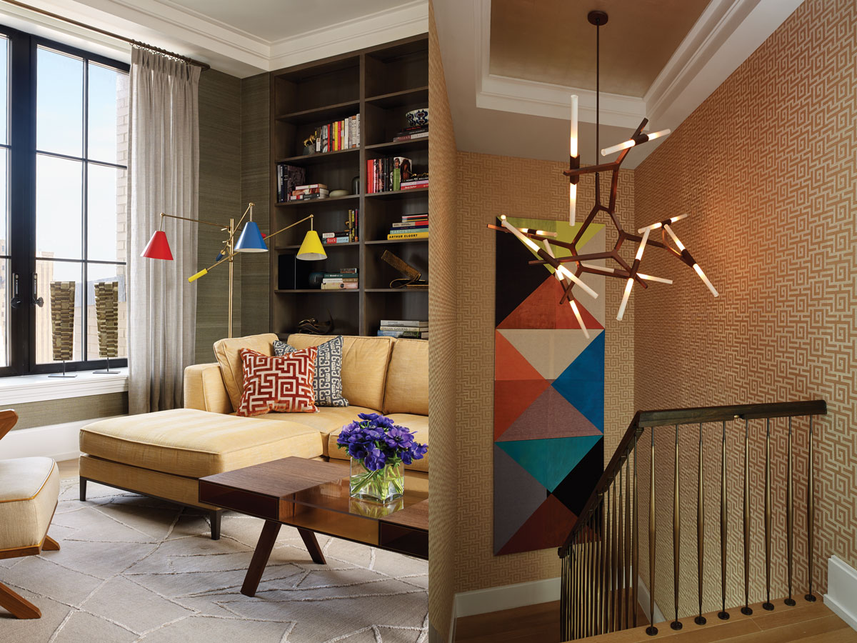 Left: In the family room, the B&B Italia Lucrezia sectional is a comfortable place for reading or watching television. The vintage Arredoluce floor lamp from Le Lampade nicely offsets the midcentury style Lawson Fenning chair. Right: JarvisStudio completely redesigned the staircase adding a custom handrail that resembles a jeweled necklace. Lindsey Adelman's Agnes chandelier, wallpaper from Clarence House, and a painting by Ana Cardoso add points of interest.