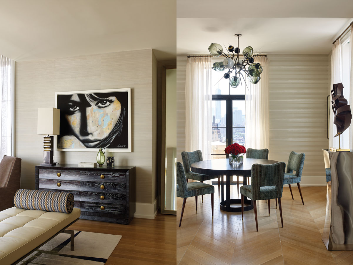 Left: A vintage club chair and chest of drawers from Flair Home add architectural interest at one end of the master bedroom. The PK80 daybed from Fritz Hansen is a convenient place to drop a handbag and coat after a long day. Right: In the dining room, a pedestal table by Gregorius Pineo offers ample space to share a meal. The Lexington chairs from Profiles are upholstered in a striking teal Clarence House fabric that echoes the palette of Lindsey Adelman's Burst chandelier. Sheer drapery panels allow soft light in.
