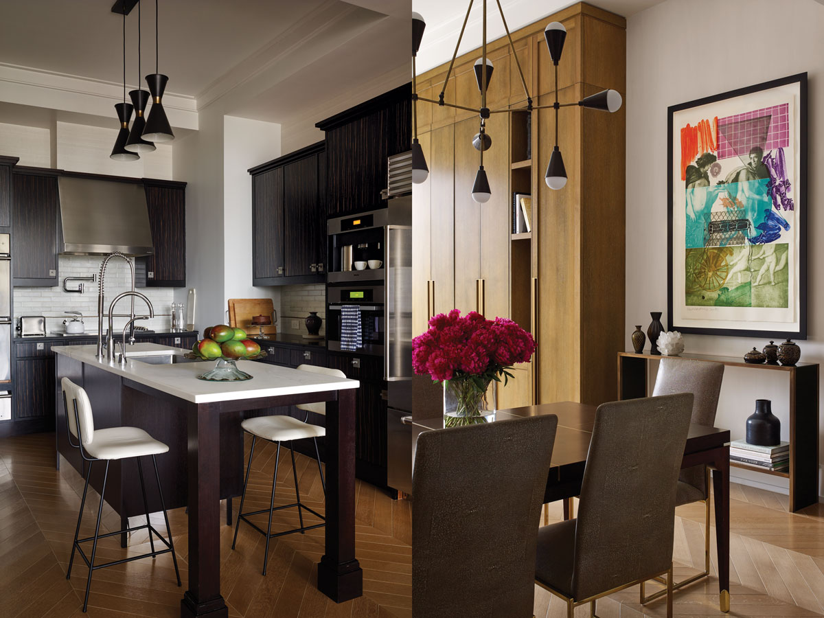 Left: The kitchen, by Smallbone, is a study in contrast, with deep chocolate cabinetry and bright white countertops. Right: In the dining room, a Jarvisstudio custom table is surrounded by vintage Milo Baughman chairs, upholstered in Moore & Giles leather. An Apparatus Triad 9 chandelier sheds light on the subject, and a work by Robert Rauschenberg brings it all together.