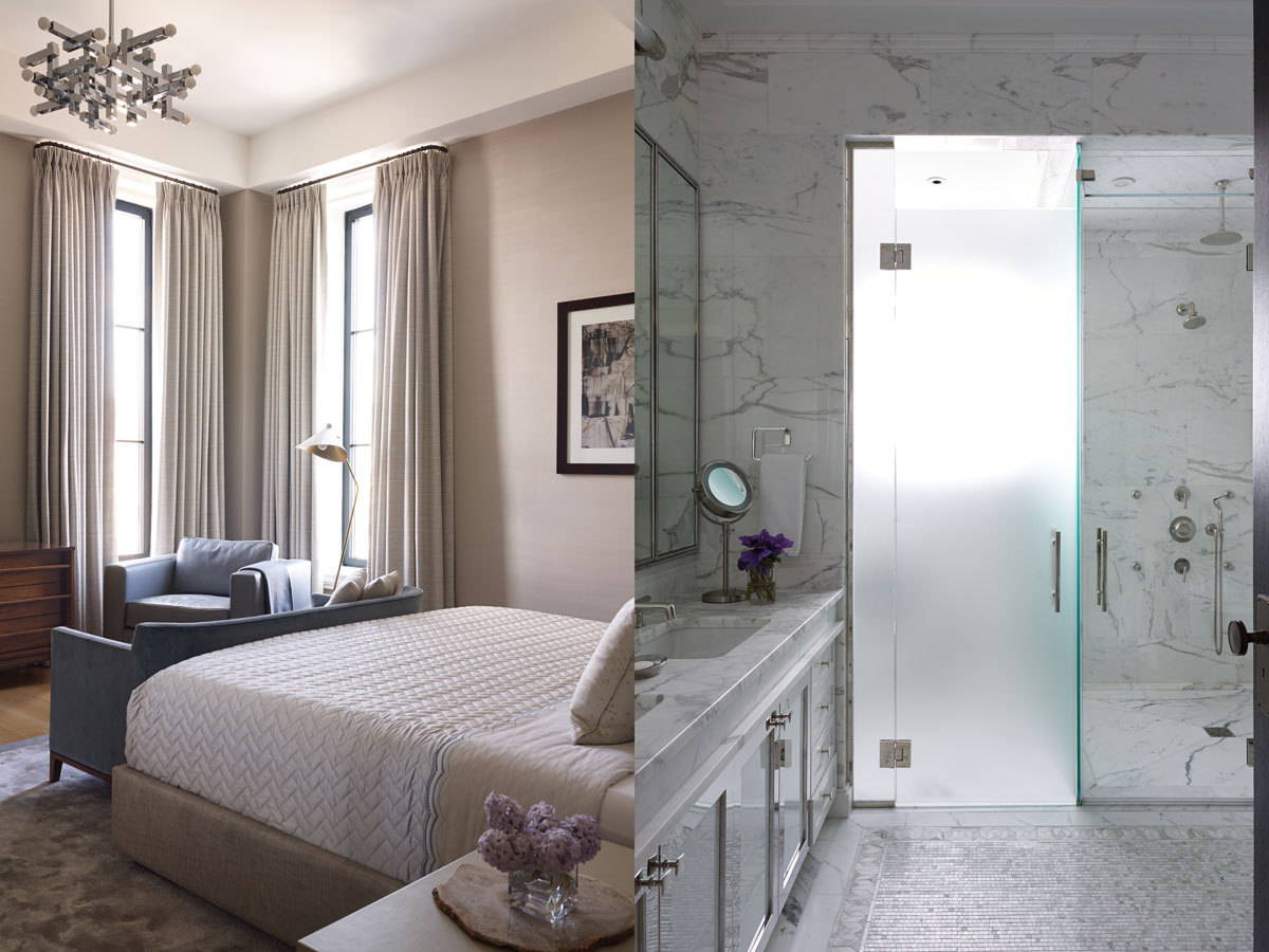 Left: The master bedroom is midcentury elegant with pale blue accents. Right: Mosaic floors and polished nickel accents add a spa touch to the bath.