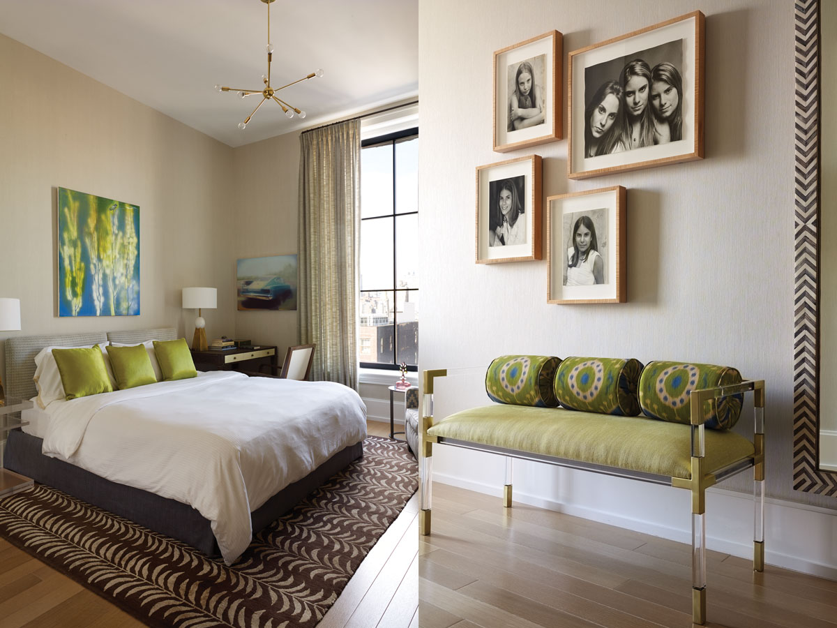 Left: Lime green perks up the guest bedroom. Right: Portraits of the daughters hang over a sexy Lucite bench from Jonathan Adler.
