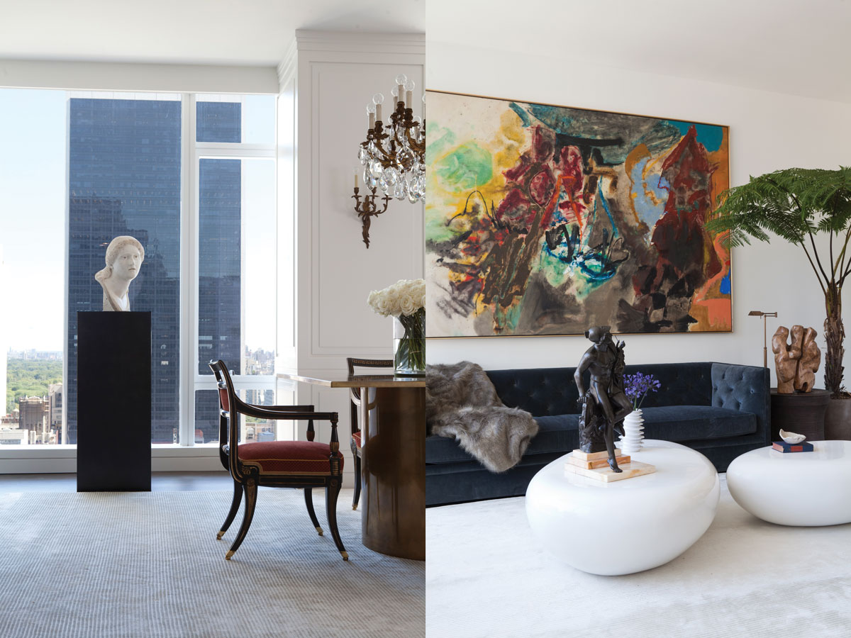Left: The dining area's north-facing, floor-to-ceiling windows frame a view of the Seagram building. A Greek marble bust sits atop a metal plinth from Restoration Hardware. Right: The designer paired a vibrant painting from Loretta Howard Gallery with sculptural cocktail tables from The Phillips Collection on the eastern side of the combined dining/living space.