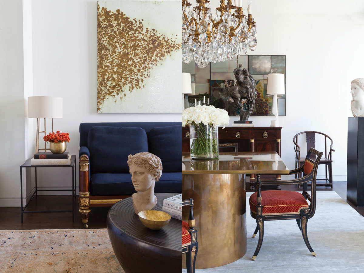 Left: In the guest study, an antique rug in warm peach tones, a coffee table from Arteriors Home, and a period sofa with mahogany legs convey warmth and comfort.  Right: Anderson had the dining table custom designed in Italy and paired it with English Regency armchairs from the client's collection. An antique Chinese sculpture of a stylized horse sits on the buffet between shapely alabaster lamps from Circa Lighting.