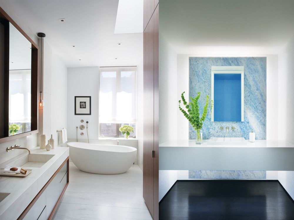 Left: Walls, floor, and counters lined in Stellar white stone, which has a distinctive