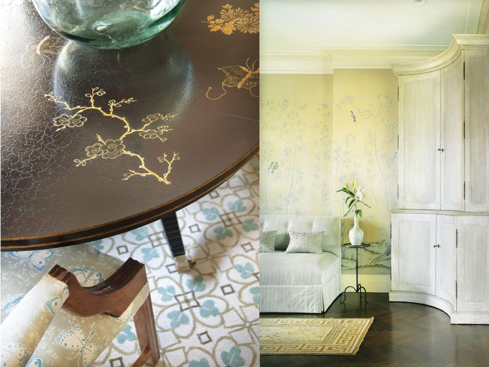 Left: The dining table's custom chinoiserie design complements the butterfly-patterned upholstery fabric on the dining chair. Right: Designer Frank DelleDonne chose a dark, quartersawn wood floor to anchor the entry foyer. A settee next to the bar cabinet offers visitors a convenient perch for cocktails.