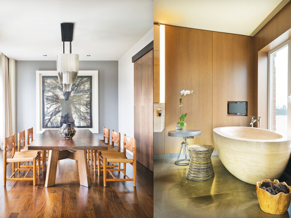 Left: Hanging over the custom dining table is a chandelier by Jo Whiting, who makes lighting fixtures of individual, paper-thin porcelain tiles. Right: A freestanding tub for two from Stone Forest is functional sculpture in the master bath.