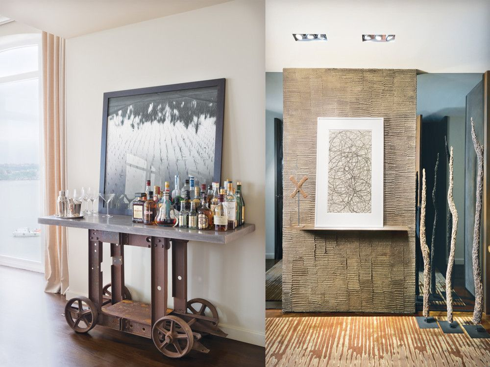 Left: A post-industrial French bar from the Marché aux Puces in Paris is easily accessible from the living room, dining room, and kitchen. Right: To set the aesthetic tone for the apartment, Clodagh commissioned artist Louise Crandell to hand finish a foyer wall in combed papier-mâché.