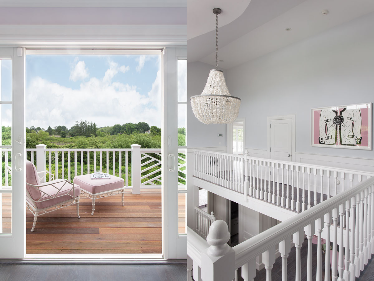 Left: A bedroom porch offers a panoramic view of the nature preserve from the Brown Jordan chair. Right: The second story of the house is open, allowing a view of the living room and foyer. Le Fleur by Chesley McLaren.