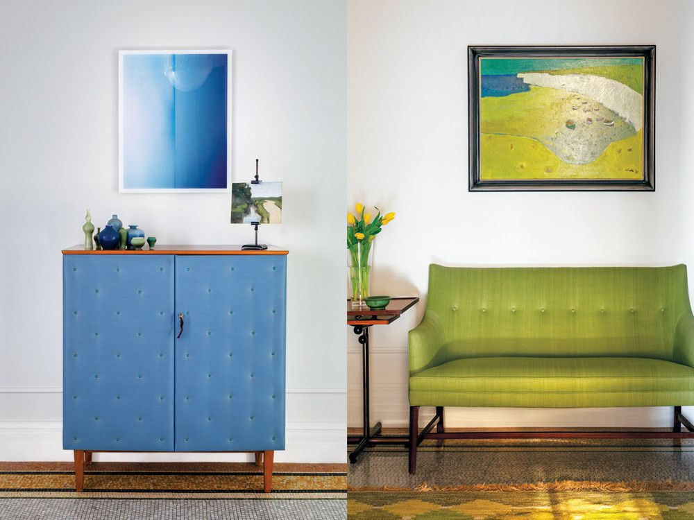 Left: Finnish pottery from the 1960s tops a 1940s Otto Schultz cabinet. Right: For palette, composition, and lighting, the Michaels took cues from Vermeer paintings. One of Peter Fasano's laundered linens dresses the 1940s Frits Henningsen settee. Beside it is a 1930s Embru side table; a 1973 oil by Aliotti hangs above.
