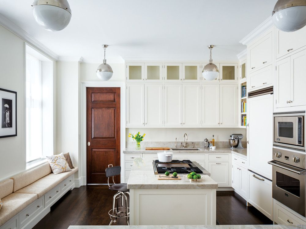 Ageloff & Associates completely redid the kitchen and chose many of the apartment's wall fixtures and overhead lighting.