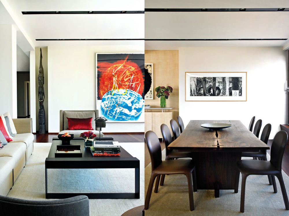 The dining room emphasizes the handmade with a black walnut George Naka-