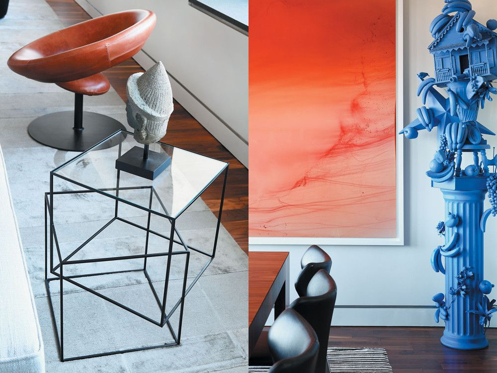 Left: The orange side chair is Anel by Espasso. Right: The brilliant blue of the Carlos Betancourt sculpture contrasts with the saturated orange of the Wolfgang Tillmans photo.