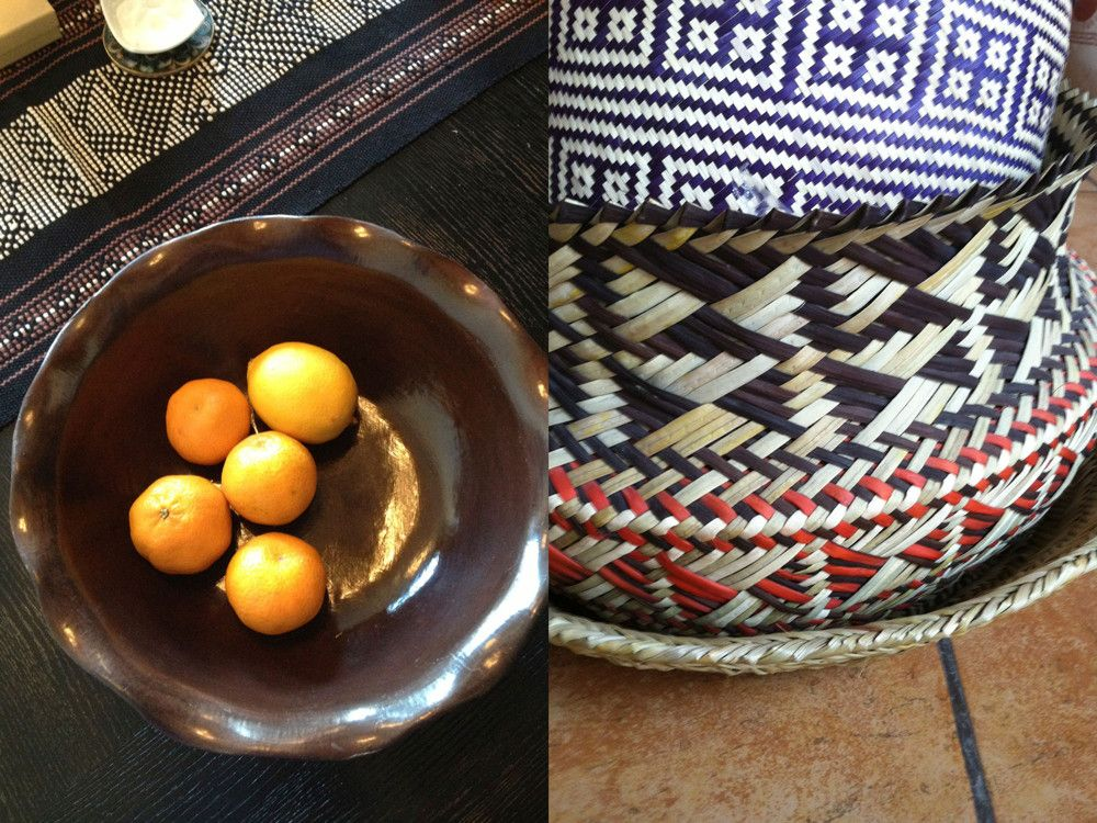Left: For Kirar, innovative design can stem from artful displays of materials and objects, cultures, environment, and nature most of all. Right: Beauty in simplicity: Mexican baskets.