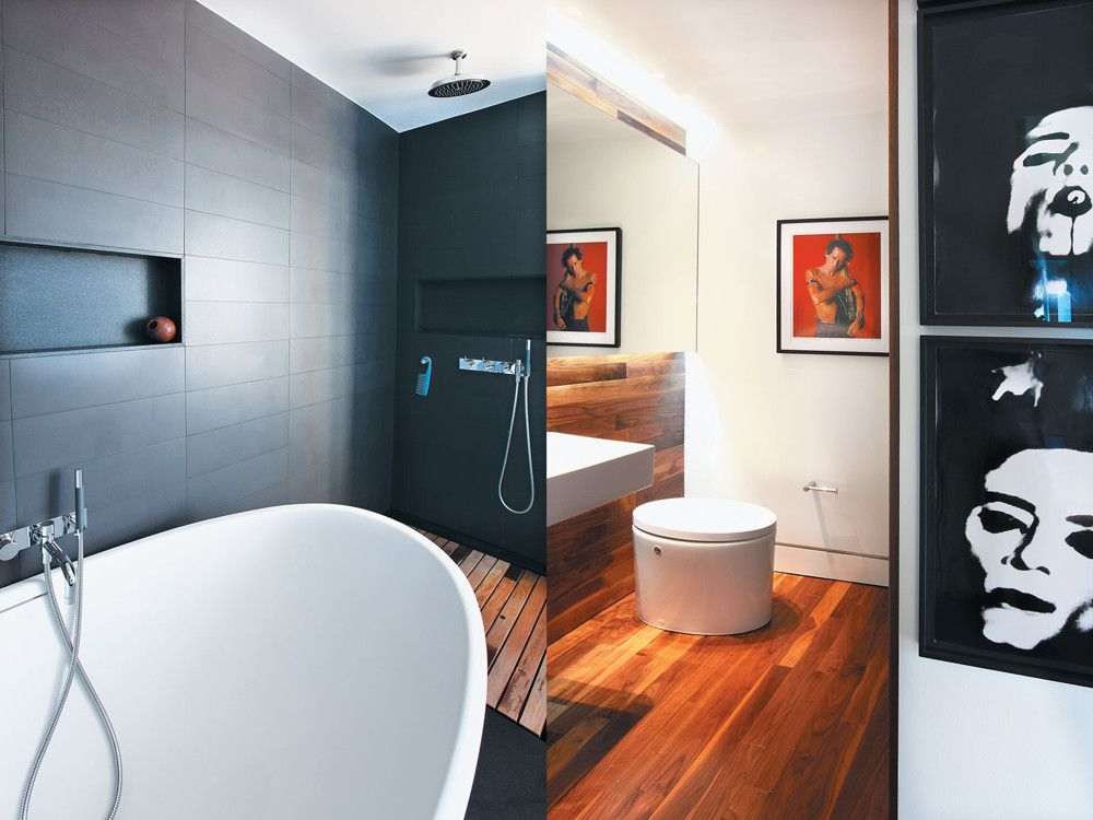 Left: A black granite wall sets off Tyrrell and Laing International's Isis Slipper tub. Right: The modernism extends to the bath fixtures, which rock out with the rock star photos.