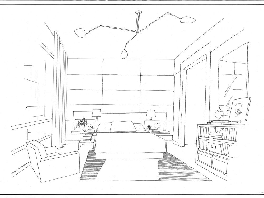 McIntosh's rendering of the bedroom makes the layout clear.