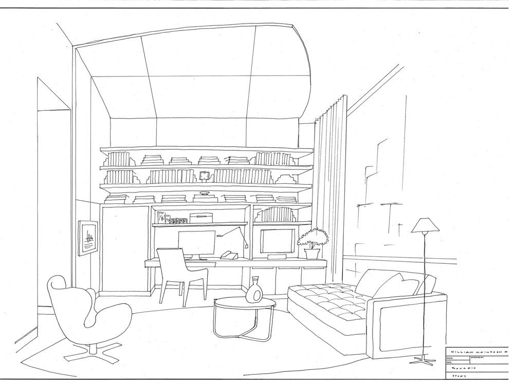 To clarify his ideas  for the client, McIntosh does renderings and sketches by hand.