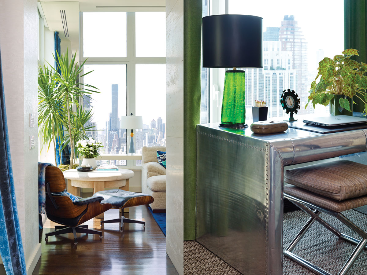 Left: In another corner of the den, an Eames lounge chair and a 1970s limestone table by Michael Taylor. Right: A bottle-green lamp atop a metal desk from Timothy Oulton.