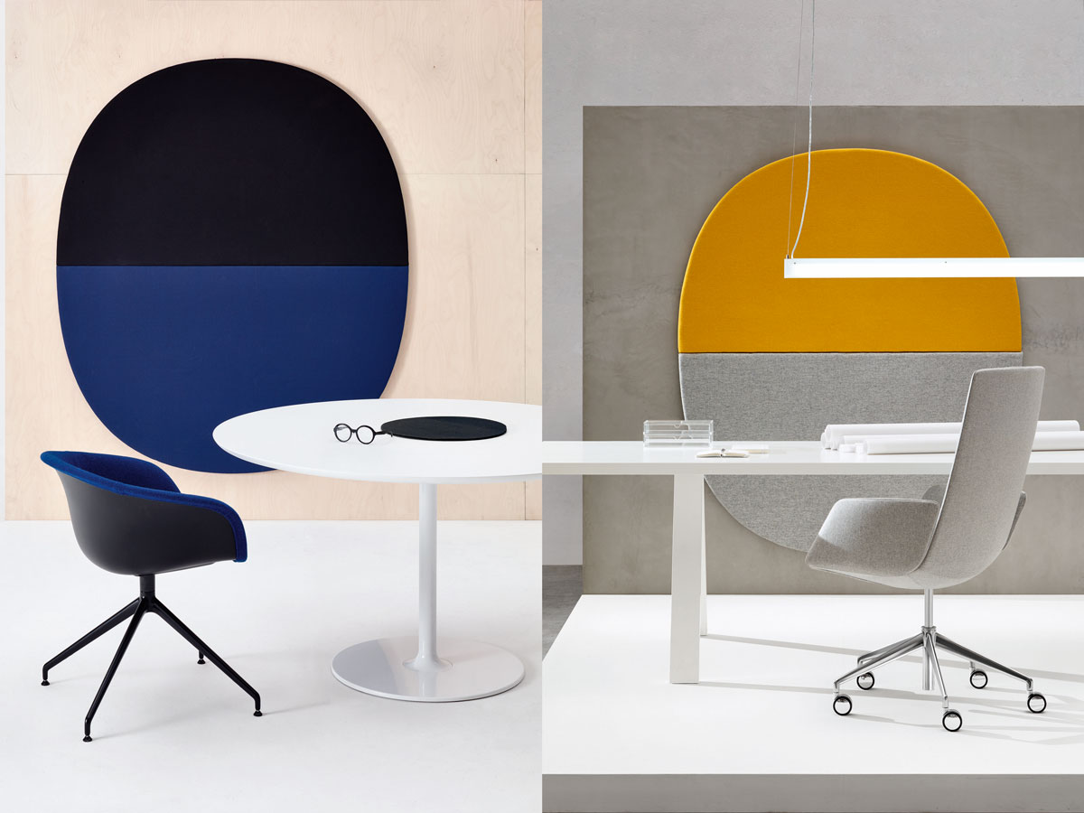 Parentesit is an acoustic wall module that reduces background noise and can be configured to fit any space. It can also be customized to include speakers and ambient light. Left: Duna chair and Dizzle table. Right: The architectural Cross table with a Catifa Sensit chair.