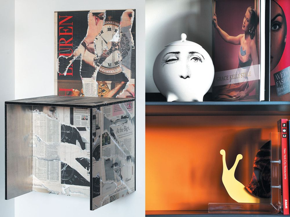 Left: A wall-mounted sculpture from the client's collection.  Right: B&B's Flat-c shelving system organizes storage and display for smaller art books and works, including the teapot.
