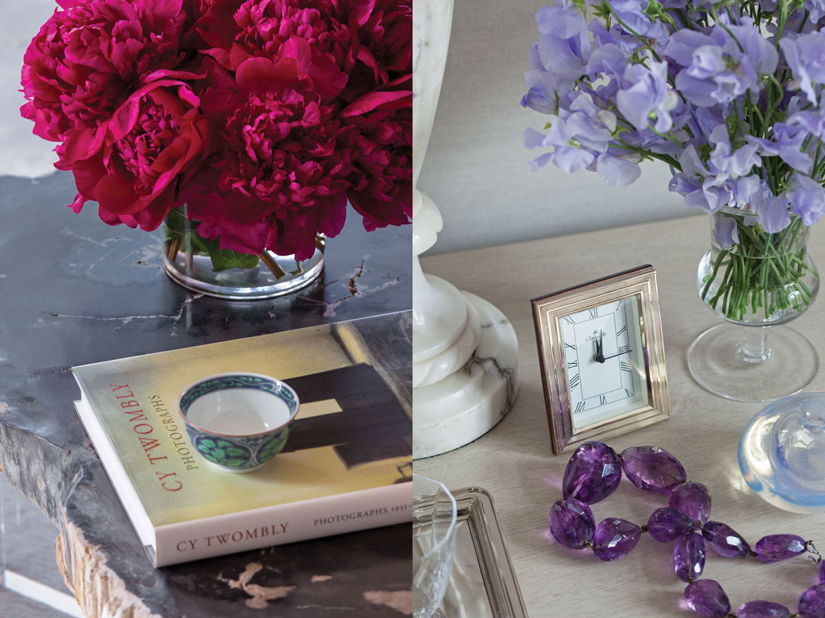 Left: A detail of the coffee table in the living room, made from a petrified wood slab on a custom acrylic table base by White Webb. Right: Shades of lilac in the master bedroom.