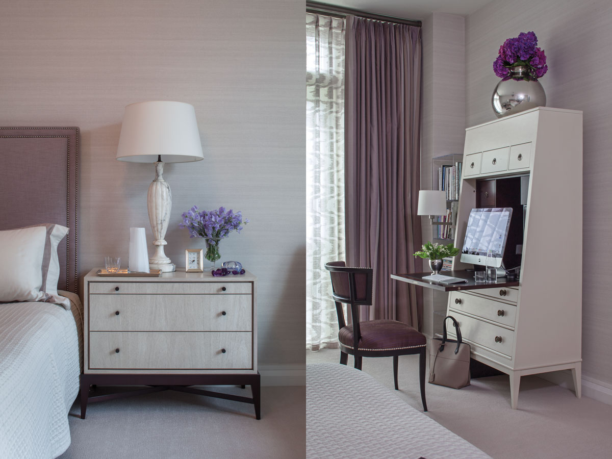 Left: A soft palette of lilac tones soothes the eye in the bedrooms. Custom upholstered headboard by White Webb in Hines' Giant fabric and a Dennis Miller night stand. Right: Hallings secretary by Thomas O'Brien for Hickory Chair and a midcentury side chair by William Haines.
