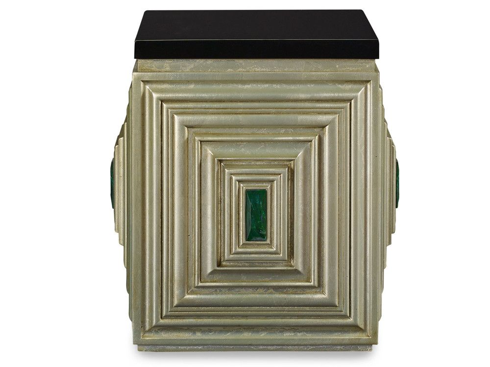 The unexpected combinations of white gold leaf and saturated color in the Jade accent table draw the eye.