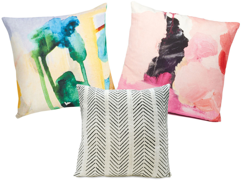 Throw pillows from textile designer Shilo Engelbrecht and Consort.