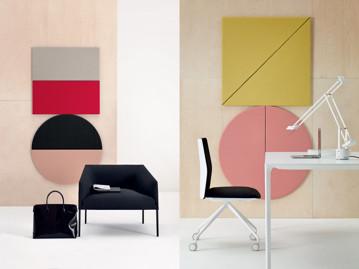Parentesit is an acoustic wall module that reduces background noise and can be configured to fit any space. It can also be customized to include speakers and ambient light. Left: the Saari armchair. Right: The slender Nuur table.