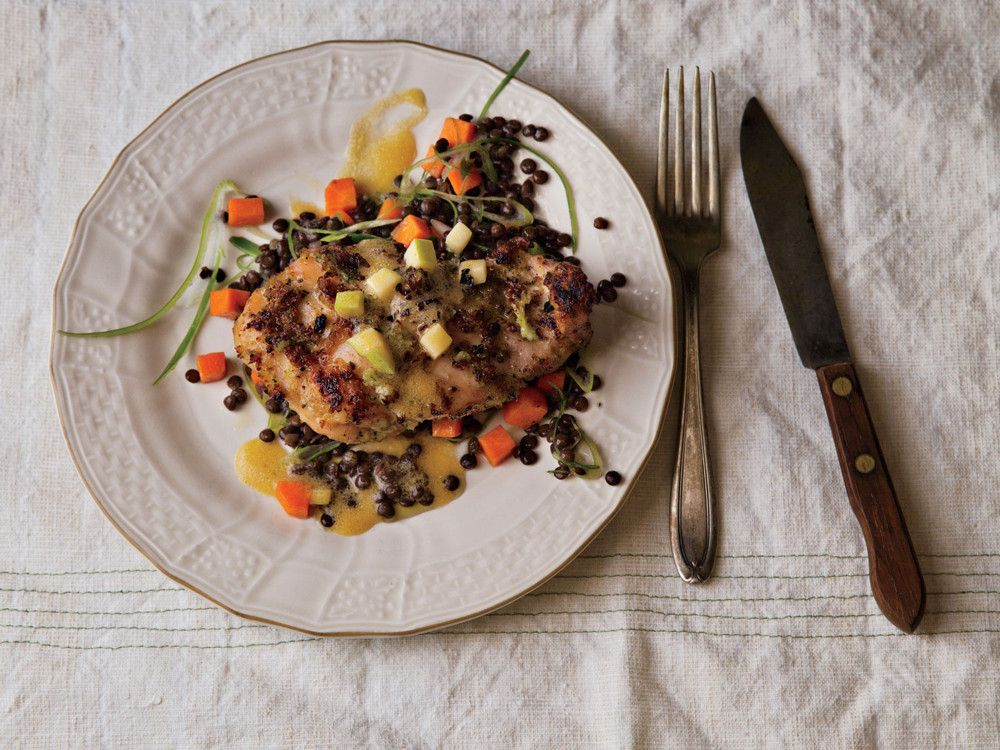 """BBQ Chicken Thighs with Green Apples and Lentils."" Recipe from AMERICA: FARM TO TABLE by Mario Batali. Copyright (c) 2014 by Mario Batali. Used with permission by Grand Central Life & Style. All rights reserved. Photography: Quentin Bacon."