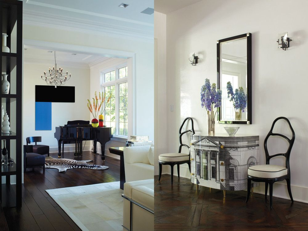 Left: A chandelier from Flos overhangs the Steinway in the music room. Right: In the entry hall, chairs from Paul Kasmin Gallery flank the Fornasetti chest.