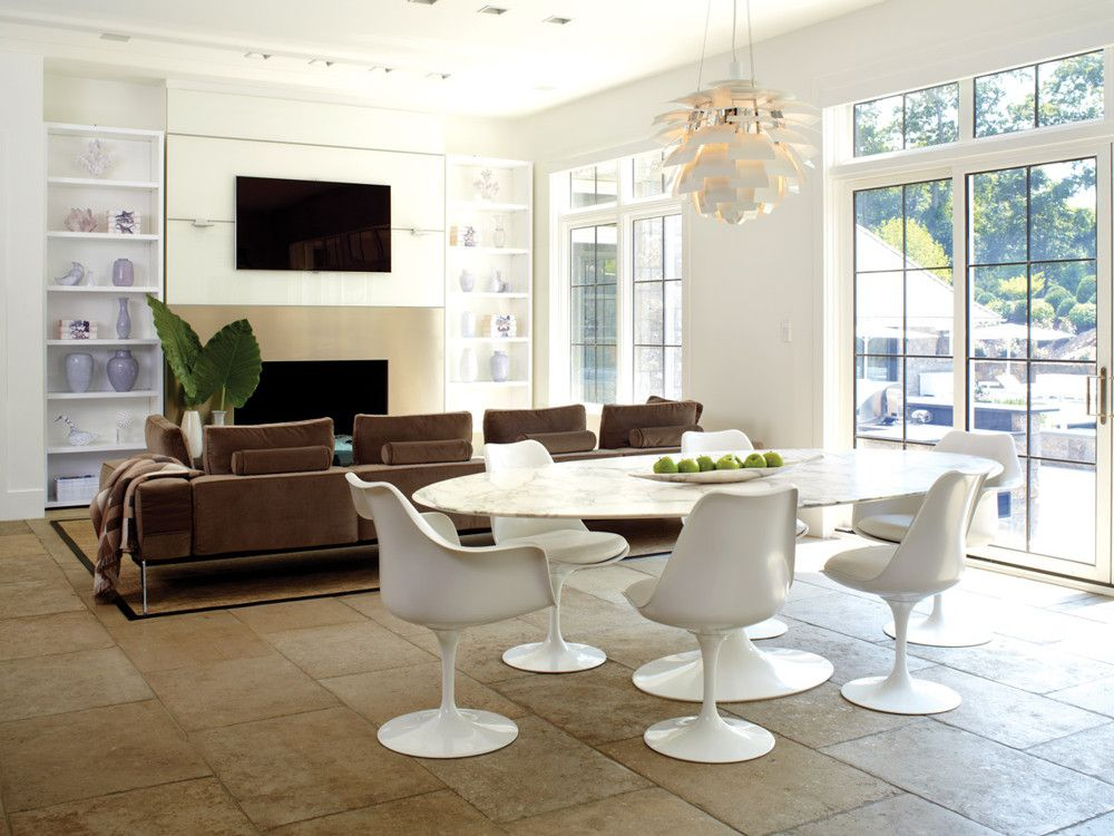 The main kitchen encompasses family dining and a sitting area.