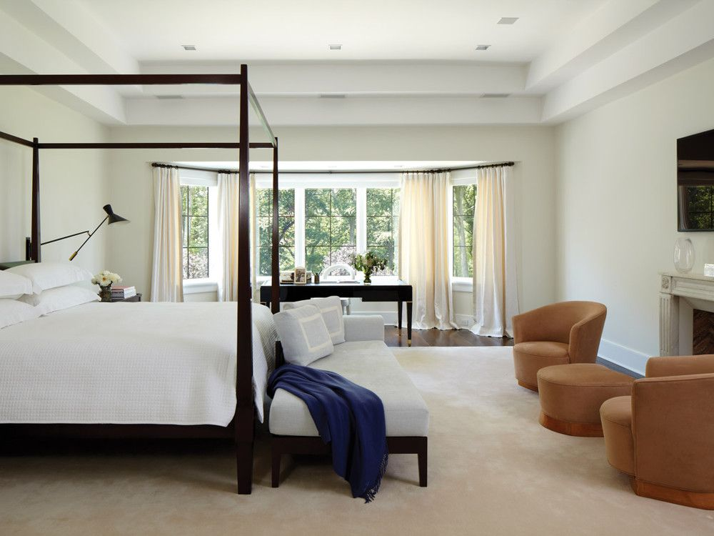 In the master bedroom are Louis Sognot chairs dating to 1930, from Mode Moderne in Philadelphia.