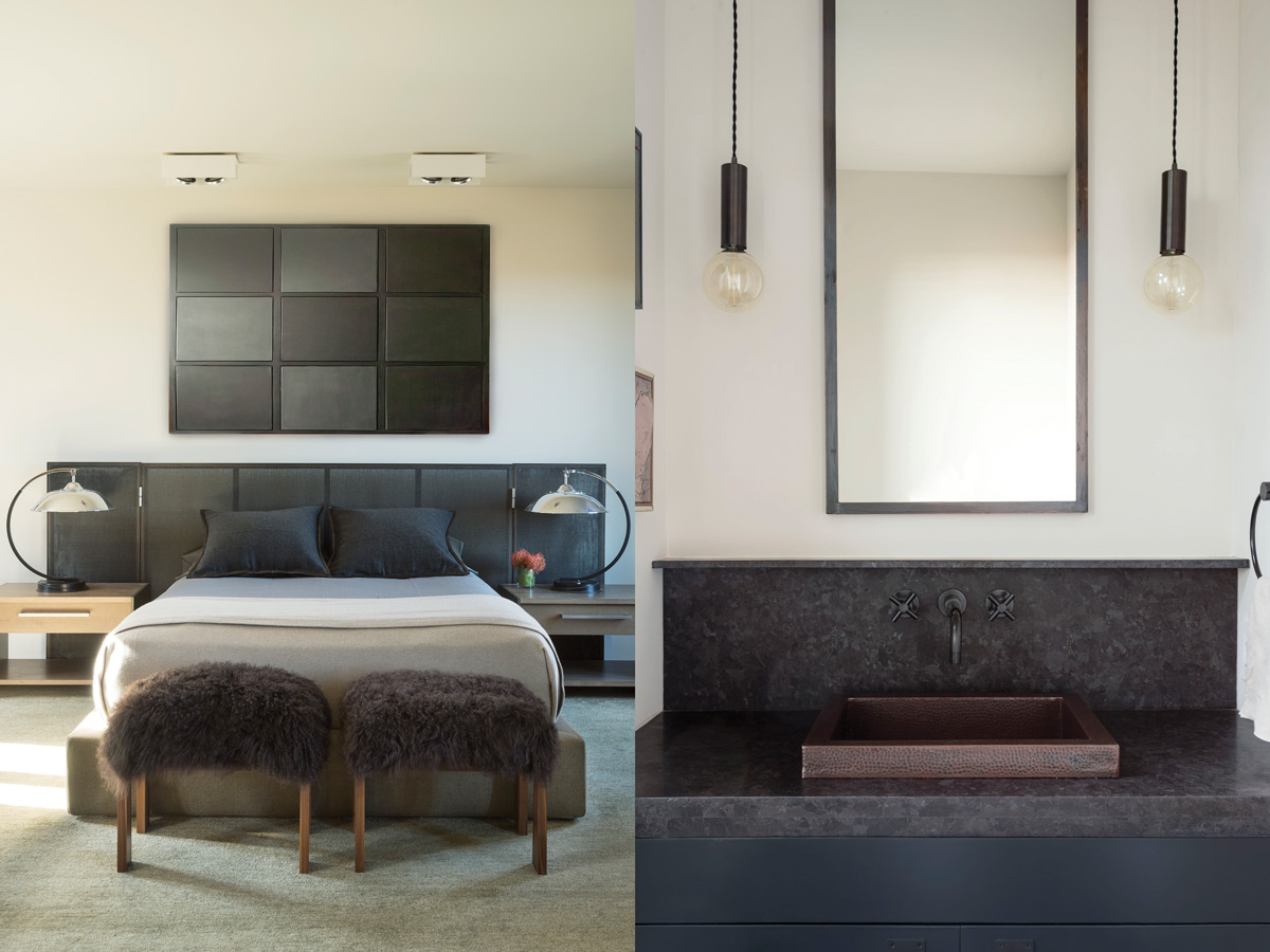 Left: The B&B Italia bed is lit by French Art Deco lamps; French Mongolian fur stools sit at the bed's foot. Right: Raffone customized a copper sink from Copper Alchemy for the powder room.