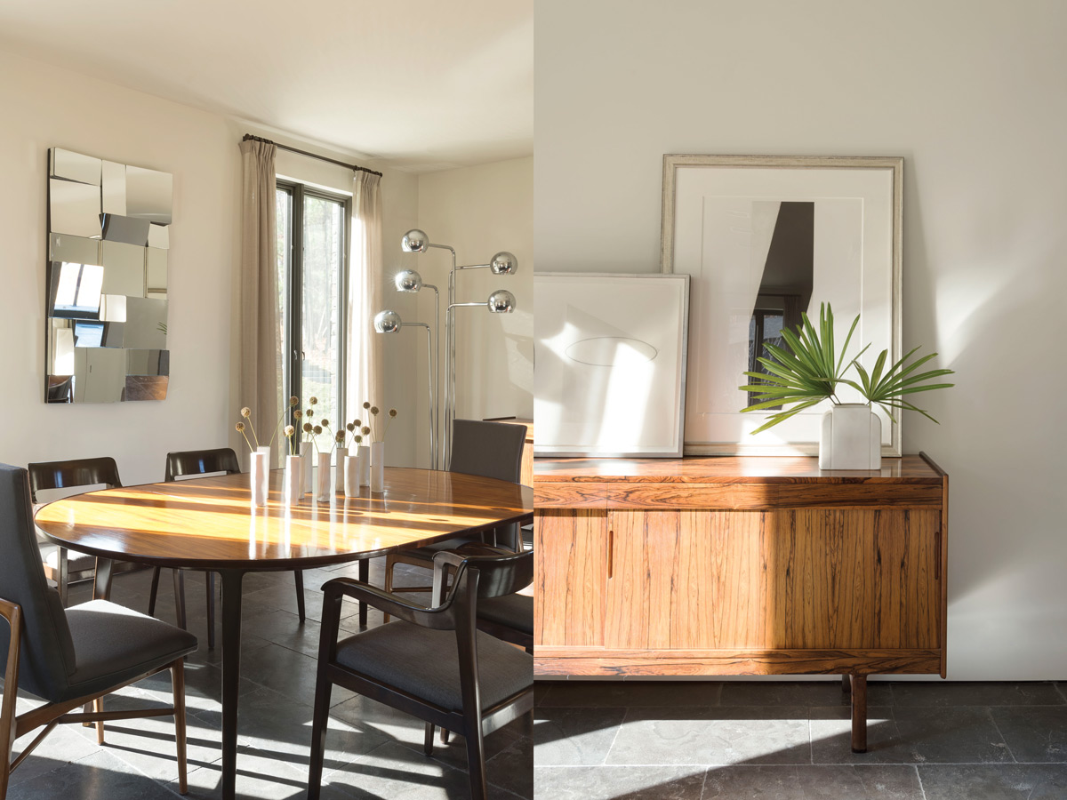Left: Edward Wormley table and chairs provide an inviting place to dine. Right: A Scandinavian sideboard from the '60s does duty in the dining area.