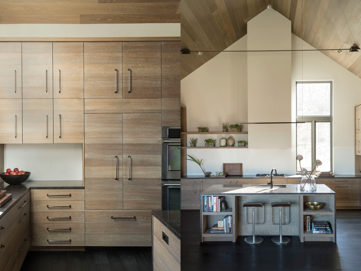 Left: The roomy kitchen has wide plank oak flooring and countertops of antique brown granite. Raffone provided ample storage with built-in horizontal planked walnut cabinets fitted with bronze hardware. Right: The stools are from Design Within Reach. He installed black tubing on the ceiling that spans the kitchen's two walls.