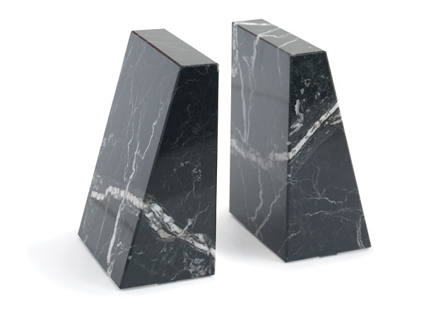 Black-and-White Marble Bookends
