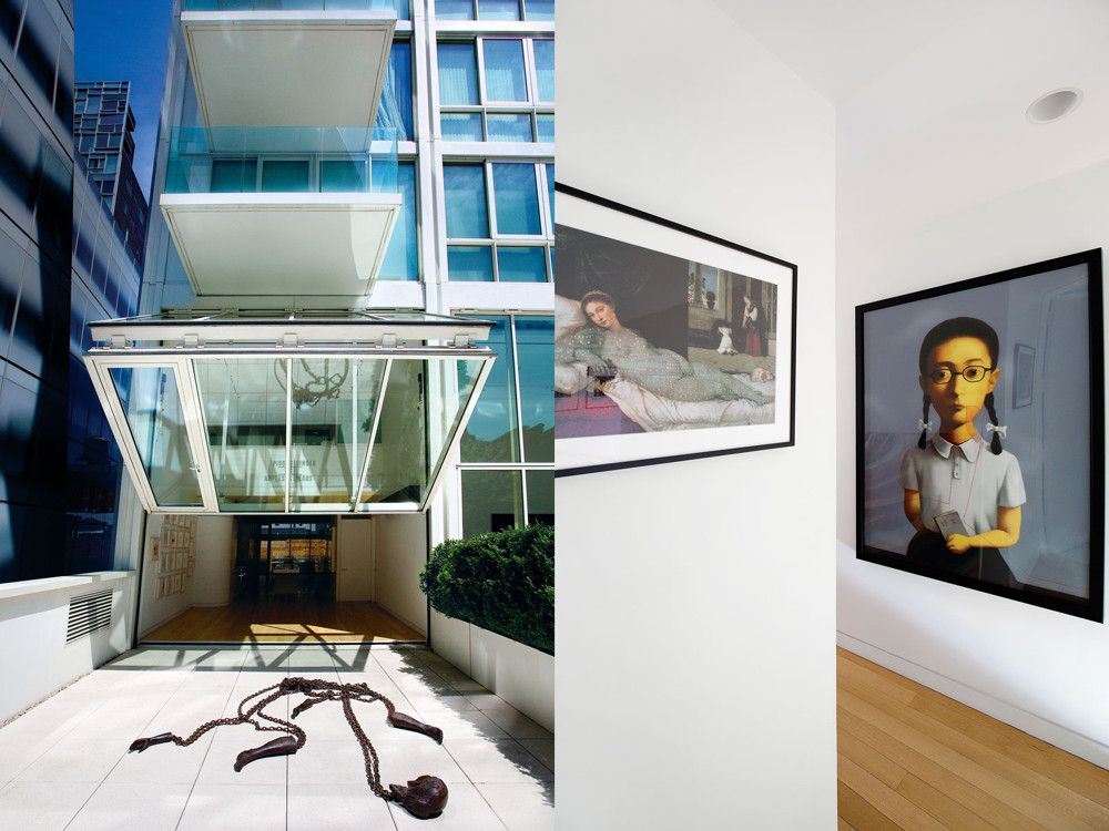 Left: Ecer's double-height glass wall retracts, opening the living room up to a terrace showcasing a bronze Kiki Smith sculpture that Ecer helped a Turkish foundation acquire from a top American collector. Right: A Lynn Hershman iris print exchanges glances with a Zhang Xiaogang lithograph.